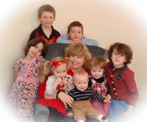 Nannie and her grandbabies 2013: Top: Damion, Jared. Left: Aurora. Right: Akuma. Lap: Eve, Eli, Cailyn. Nannie: Annette Vincent