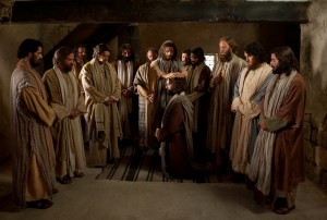 Jesus anointing His disciples