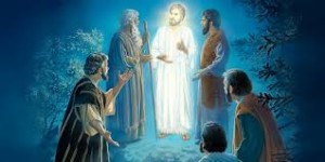 jesus standing with Moses and Elijah as Peter, James and John look on