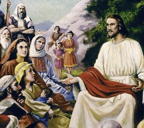 Jesus teaching a mixed gender crowd