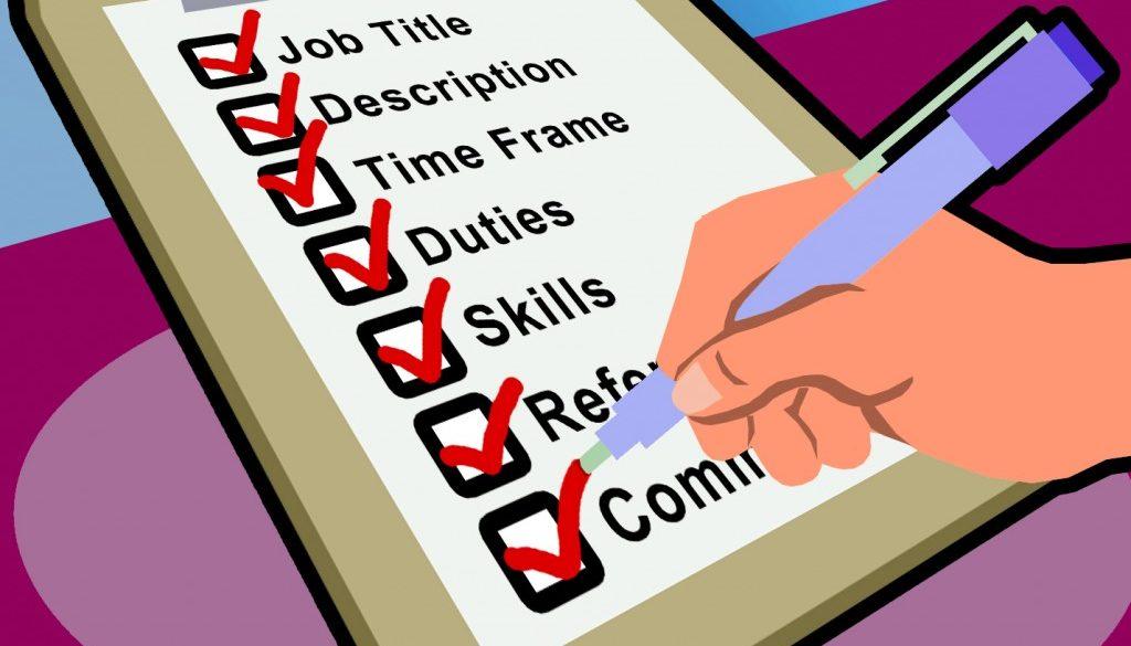 checklist for job