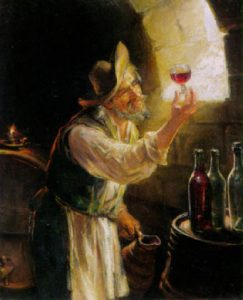Inspecting the wine
