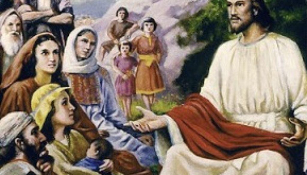 Jesus teaching a mixed gender crowd