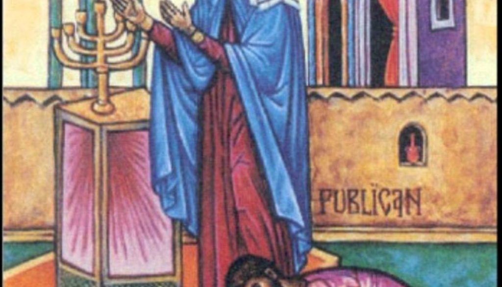 publican and Pharisee praying